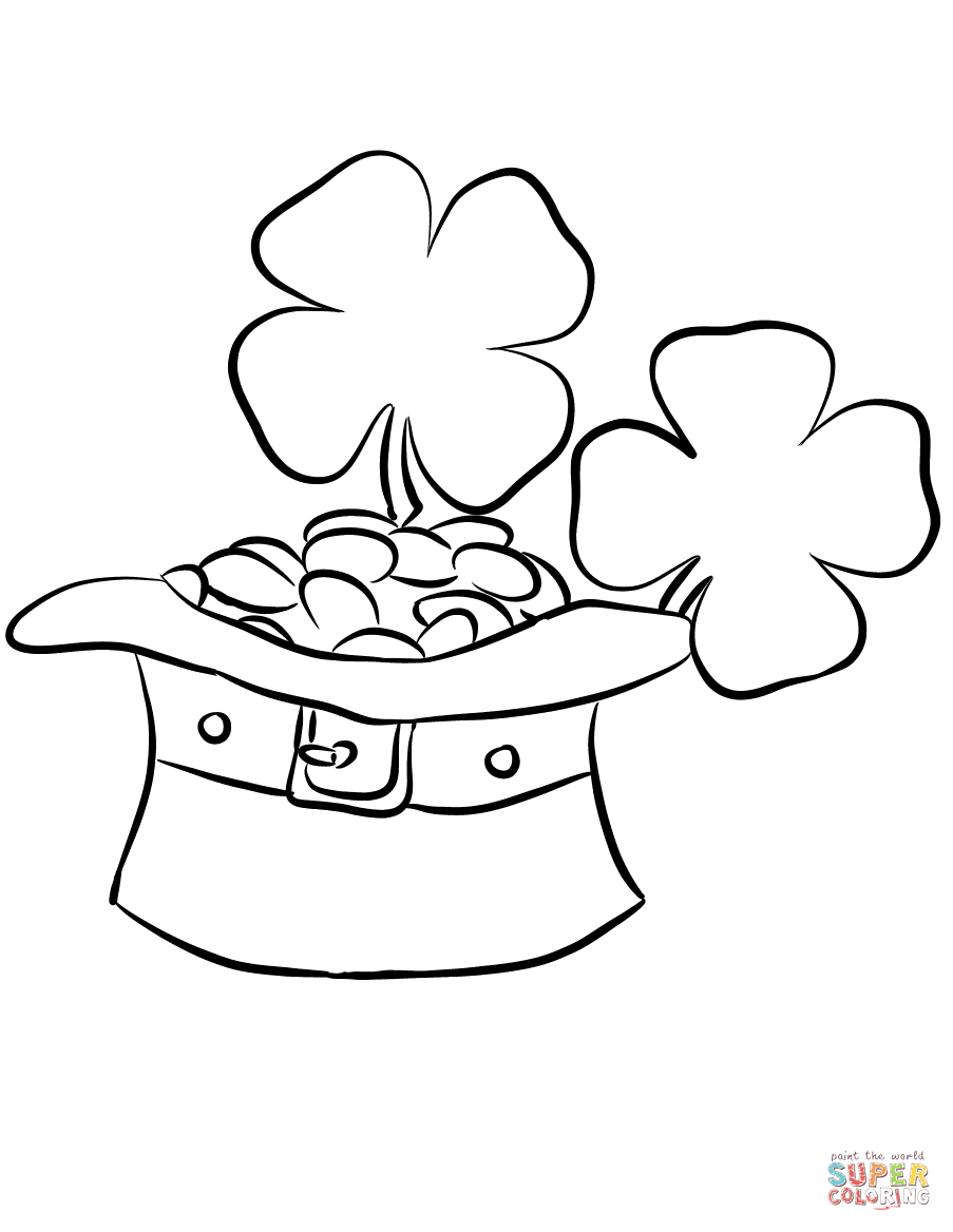 903x1168 Leprechaun Hat And Gold Coins Coloring Page To Coin