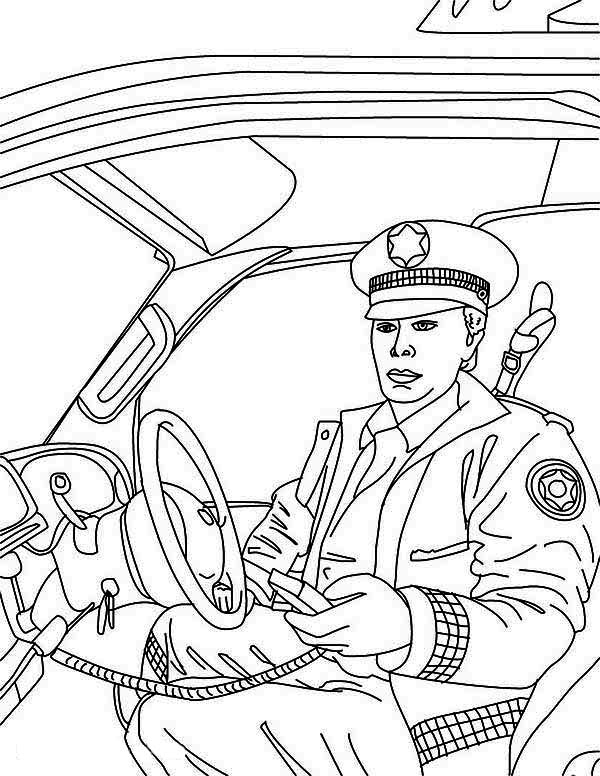 600x776 Police Man Reporting To Head Quarter In Police Car Coloring Page