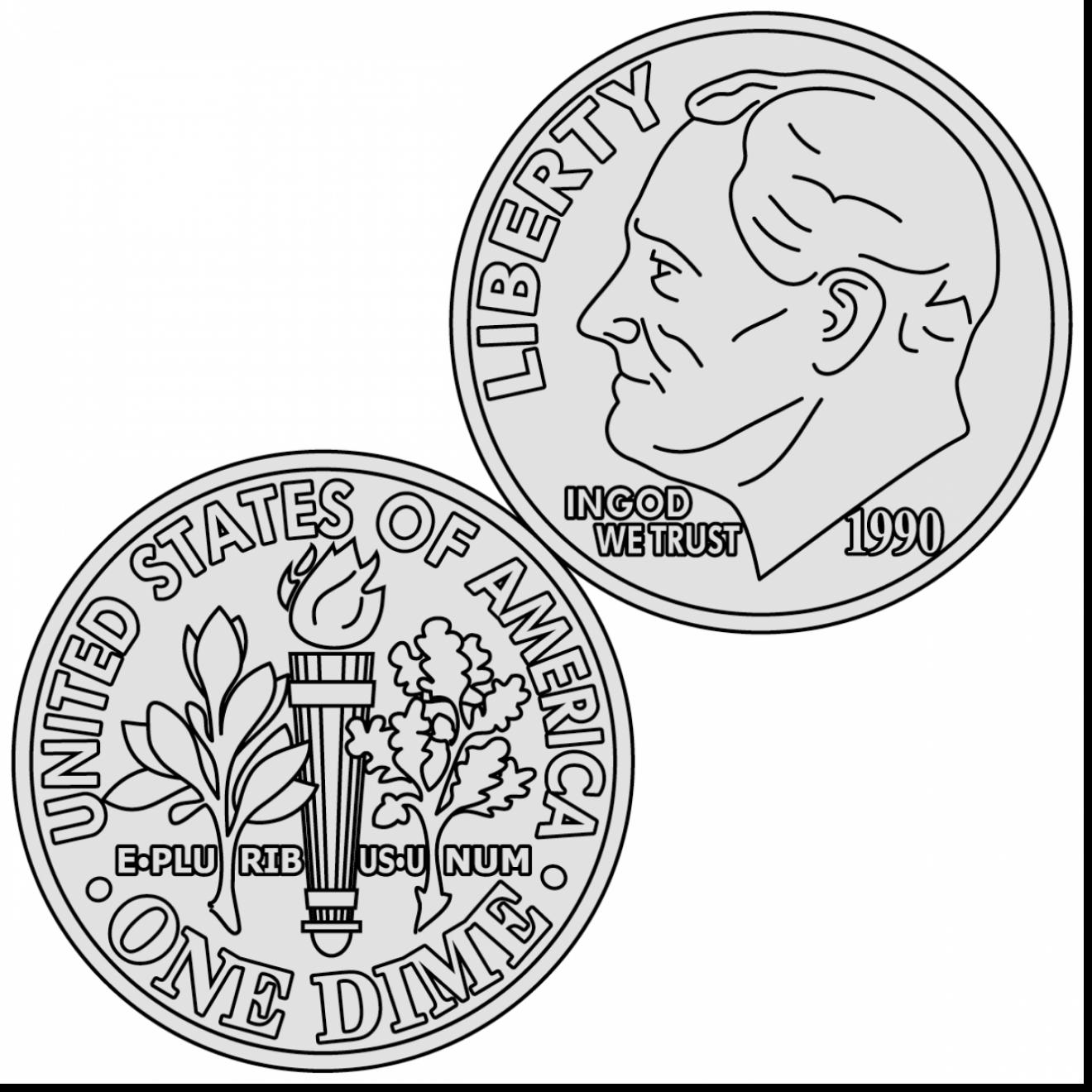 1320x1320 Quarter Coin Coloring Page Pages