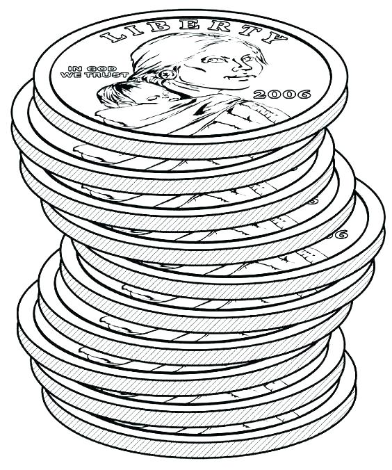 564x676 Coin Coloring Page