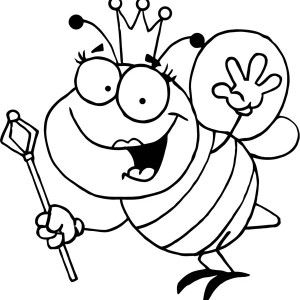 300x300 Bumblebee, Bumblebee Queen With Royal Sceptre Coloring Page