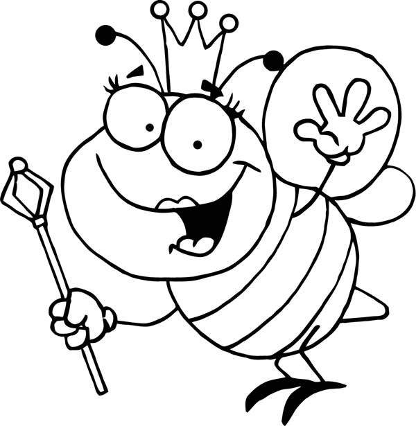 600x615 Complete Bumble Bee Coloring Page Bumblebee Queen With Royal