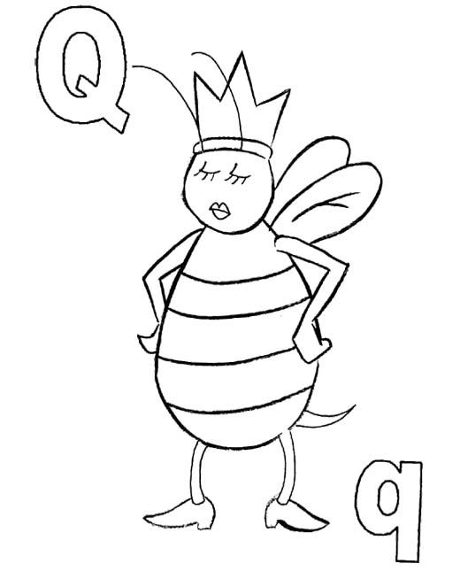 520x645 Q For Queen Bee Coloring Pages Color Pages Queen