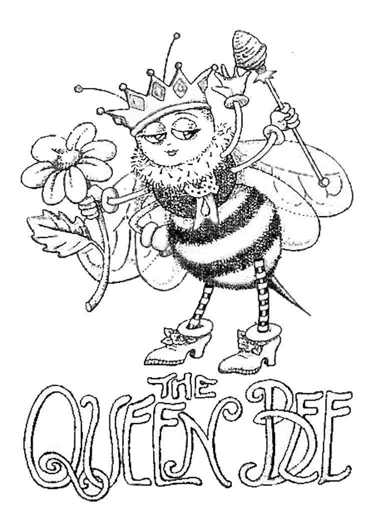 750x1019 The Queen Bee Coloring Page So Cute!!! Adult Coloring Pages