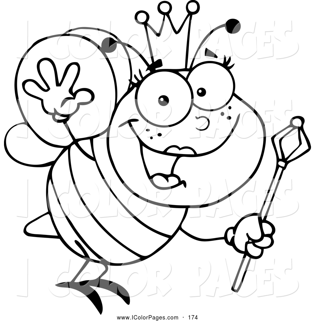 1024x1044 Vector Coloring Page Of A Black And White Waving Friendly Queen