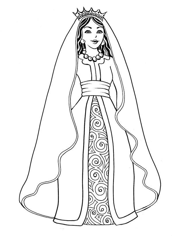 600x825 Beautiful Esther The Queen In Purim Coloring Page