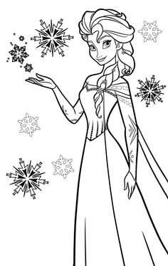 236x374 Elsa The Snow Queen Making Snowflakes Coloring Page