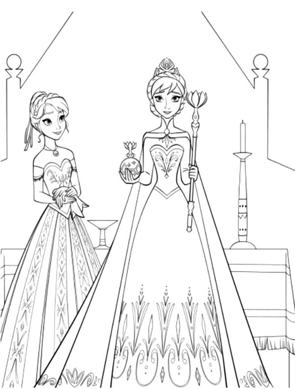600x792 Princess Anna Standing Beside Queen Elsa Coloring Pages Best