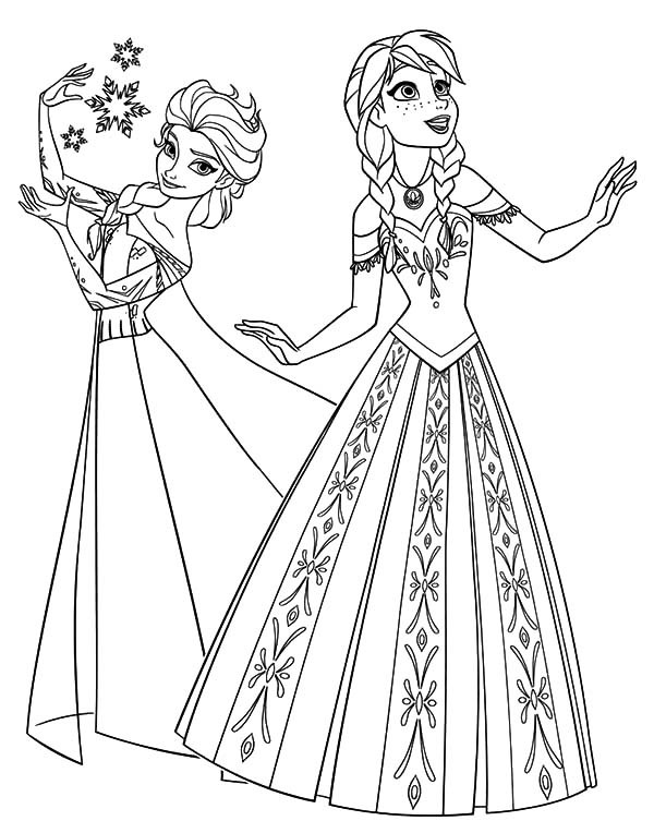 600x753 Princess Anna And Queen Elsa From Frozen Coloring Pages Best