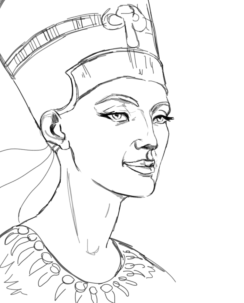804x1000 Egyptian Queen Nefertiti Drawing
