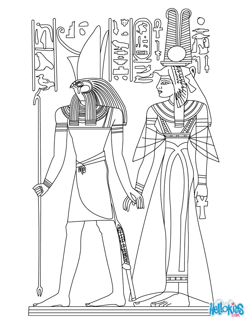 821x1061 Egyptian Coloring Pages Horus And Nefertiti Deities Coloring