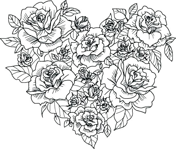 618x522 Coloring Page Heart Coloring Pages Of Roses And Hearts Heart Rose
