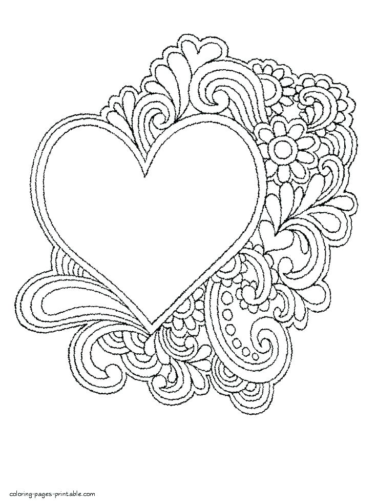 736x983 Coloring Page Heart Valentines Day Hearts Coloring Pages Cute