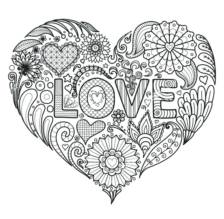 736x721 Coloring Page Of Heart Hearts Coloring Page Printable Coloring