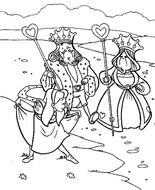 600x732 Alice Bowing To King And Queen Of Heart In Wonderland Coloring