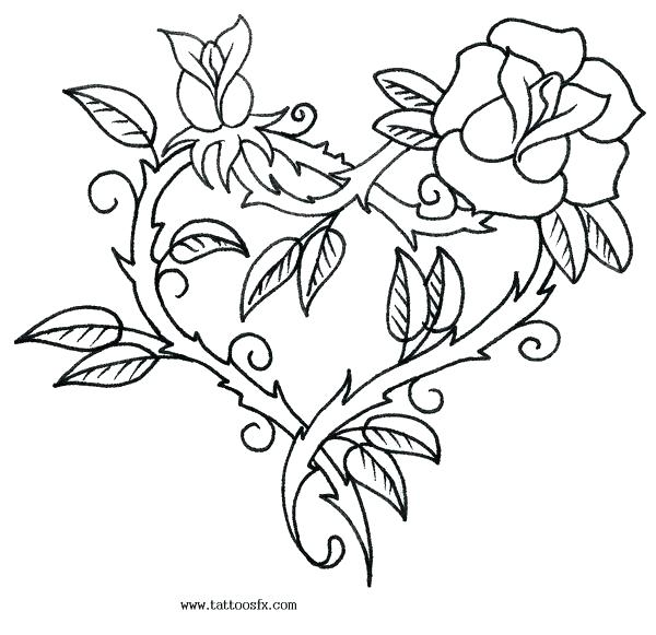 600x581 Coloring Page Heart Coloring Page Rose Drawn Hearts Rose