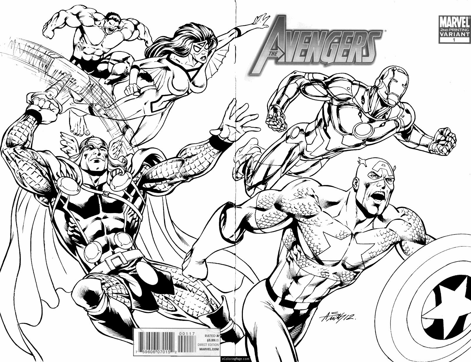 1600x1232 New Marvel Superheroes Avengers In Action Coloring Page For Kids