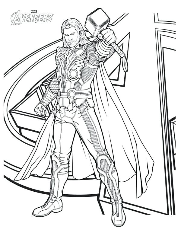 600x782 Avengers Character Thor Coloring Page Download Print Online