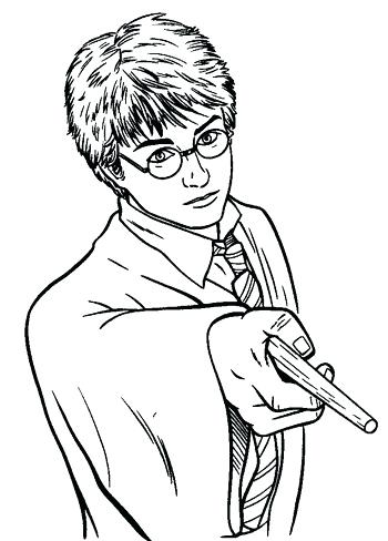 350x488 Harry Potter Coloring Pages Harry Potter Wand Coloring Page Harry