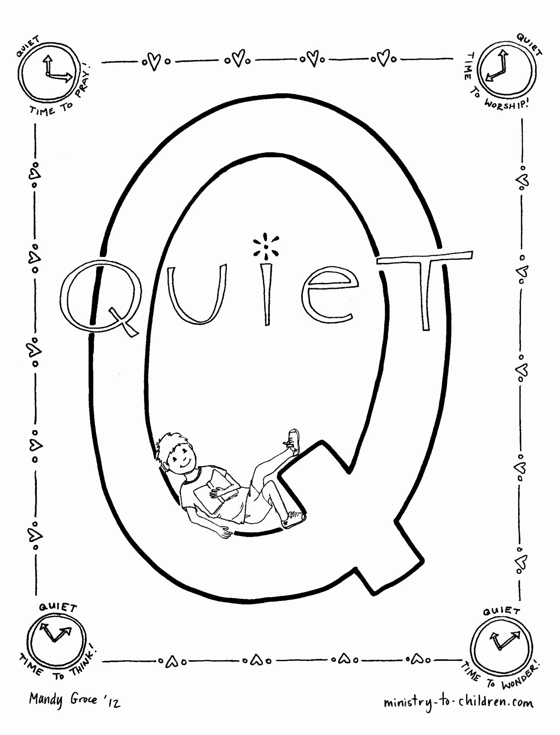 Quiet Coloring Page