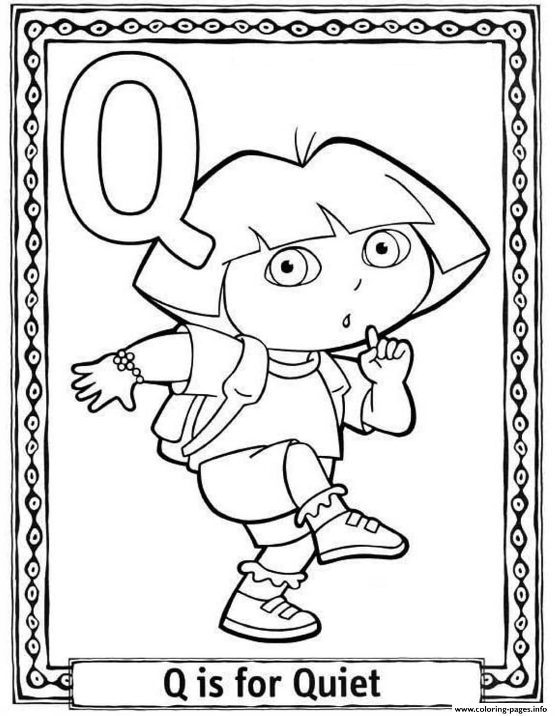 1085x1400 Dora Alphabet Coloring Pages Print Dora Quiet Alphabet