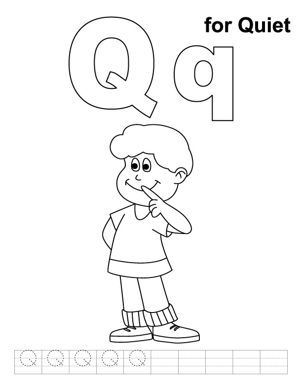 612x792 Q Is For Quiet Coloring Page