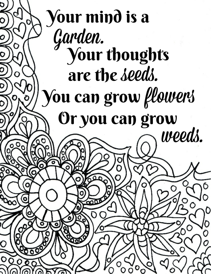 740x958 Free Printable Flower Quote Coloring Pages