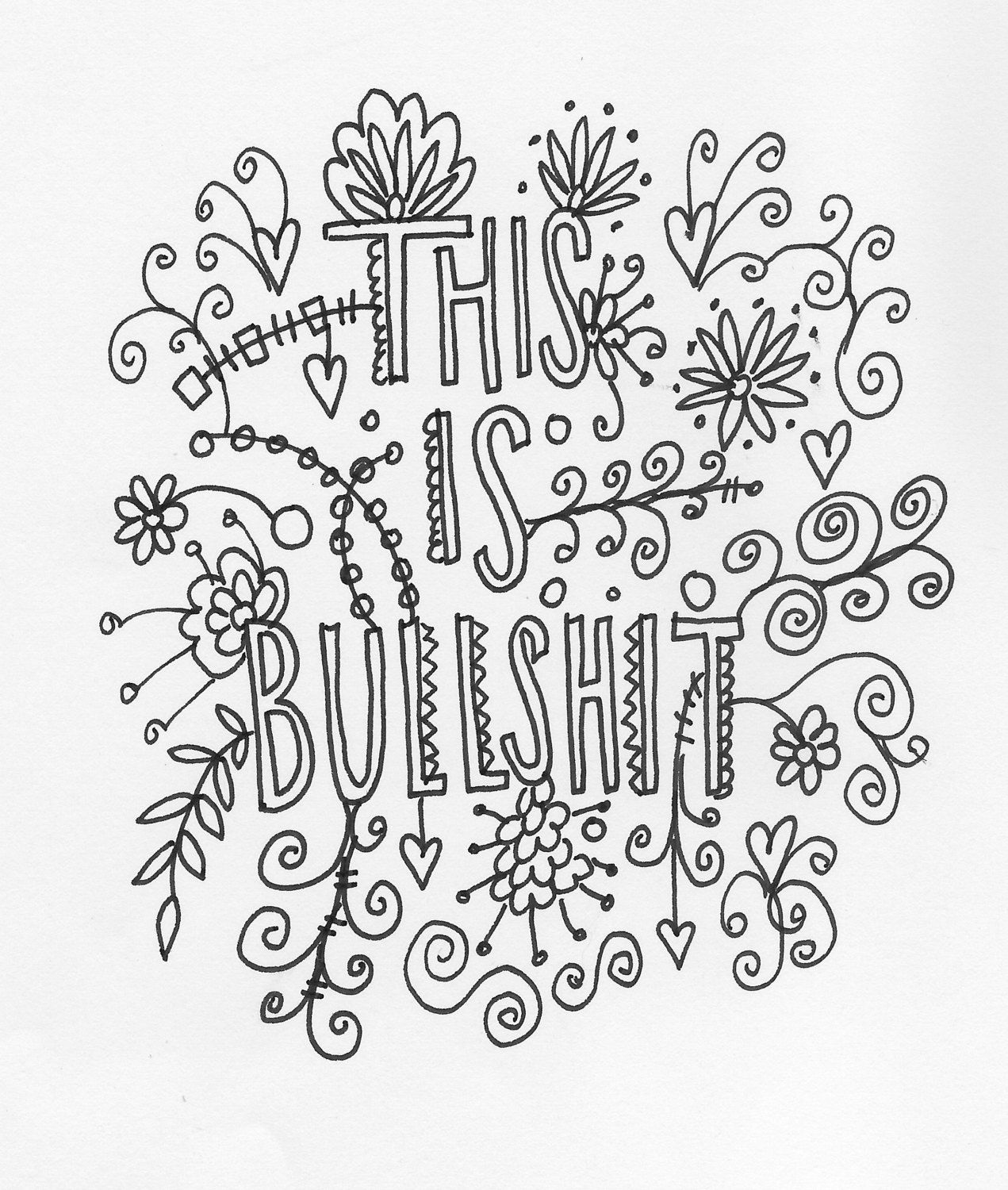 1271x1500 Quote Coloring Page Instant Download, Line Art Illustration