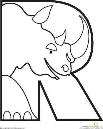 350x437 Letter R Coloring Page Animal Alphabet, Rhinos And Worksheets