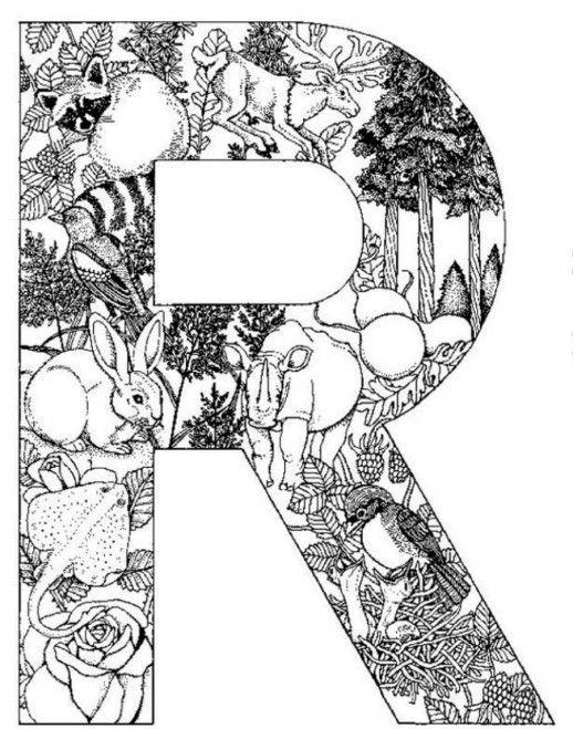 518x659 Fun Animal Print Design In R Letter Coloring Pages Speech