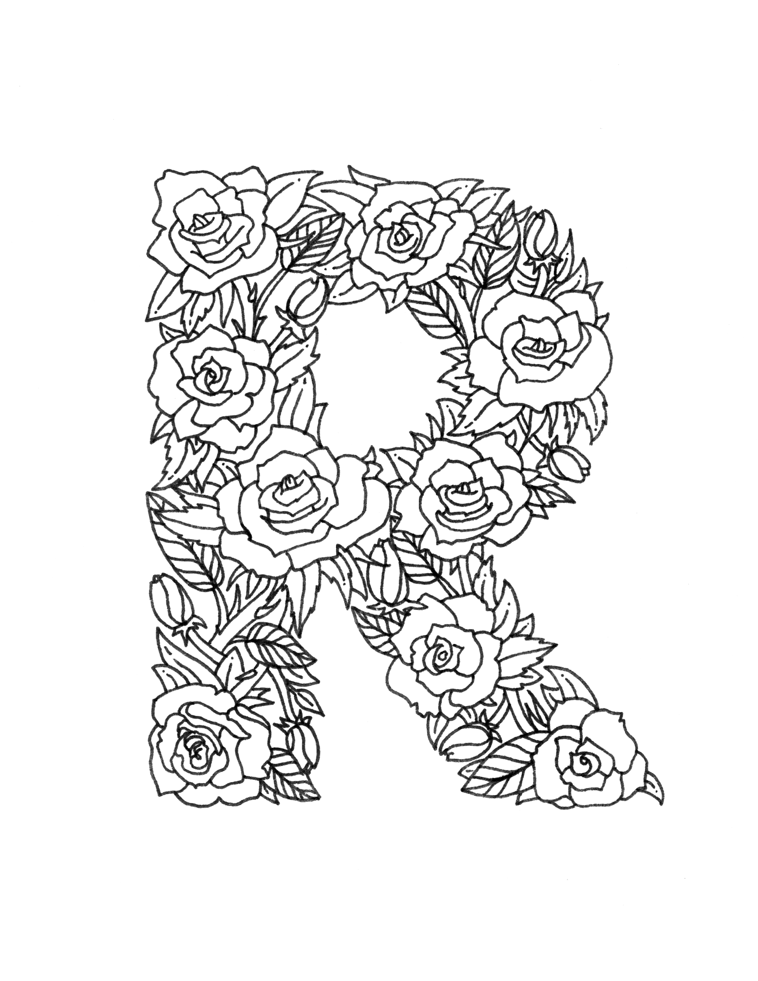 2550x3300 Illustrated Floral R Coloring Page Pages Letters