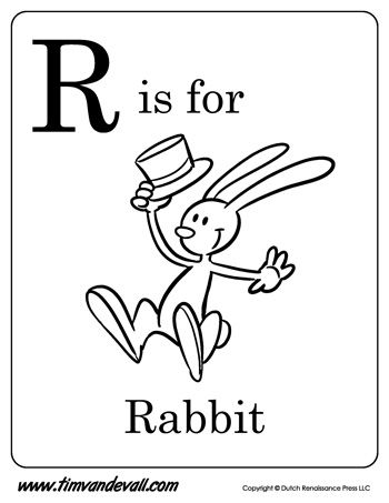 350x453 R Is For Rabbit Letter R Coloring Page Alphabet Book