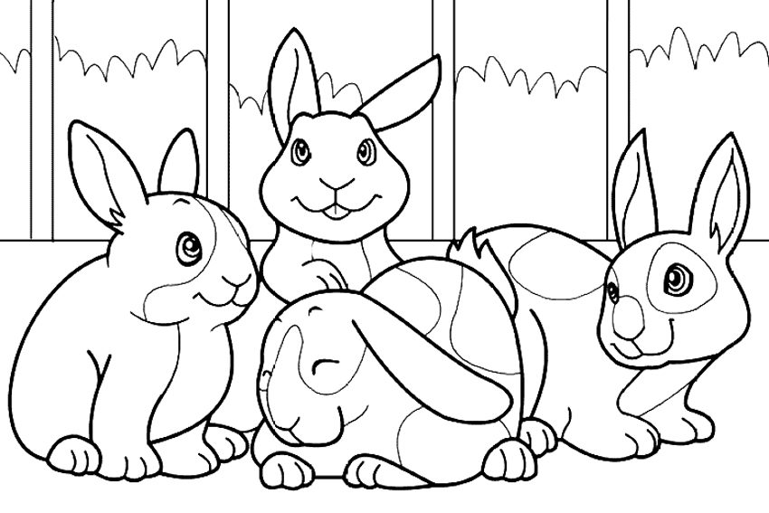 850x567 Rabbits Bunny Coloring Sheets