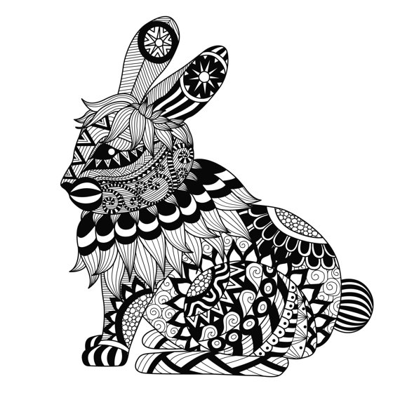 570x570 Items Similar To Rabbit Coloring Page Large Easter Gift Adult Teen