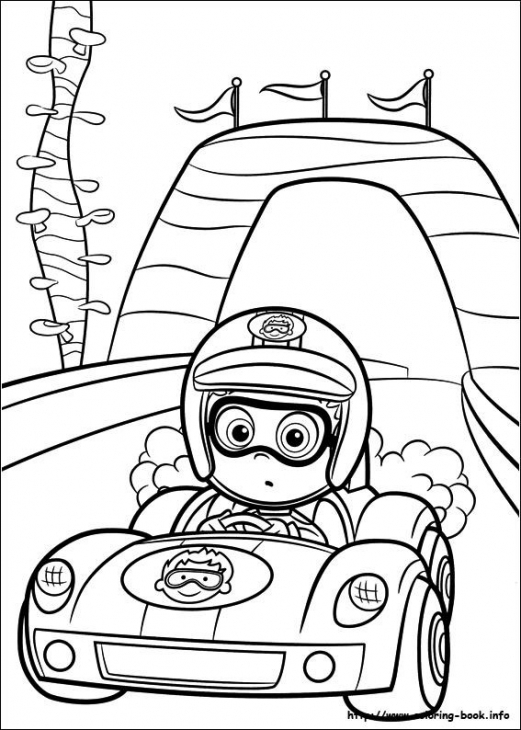 521x730 Nonny Bubble Guppies Driving Racing Car Coloring Page Online