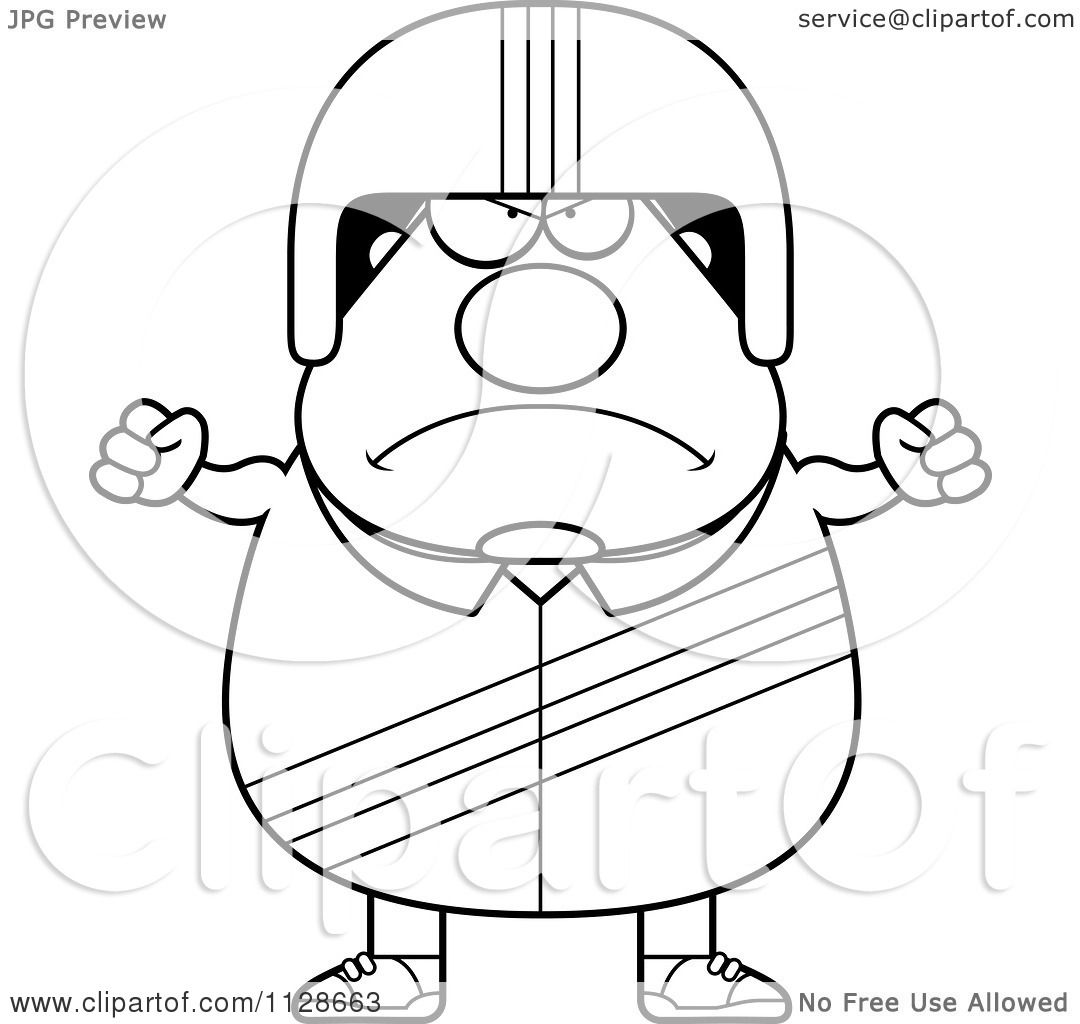 1080x1024 Cartoon Clipart Of An Outlined Angry Race Car Driver