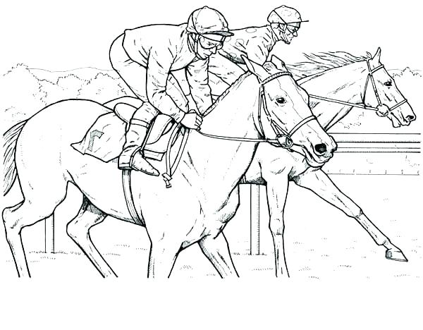600x468 Race Horse Coloring Pages Horse Racing Coloring Pages Barrel