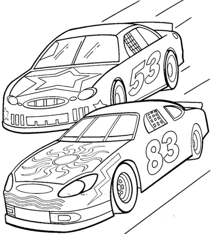 700x761 Two Car Track Racing Coloring Page