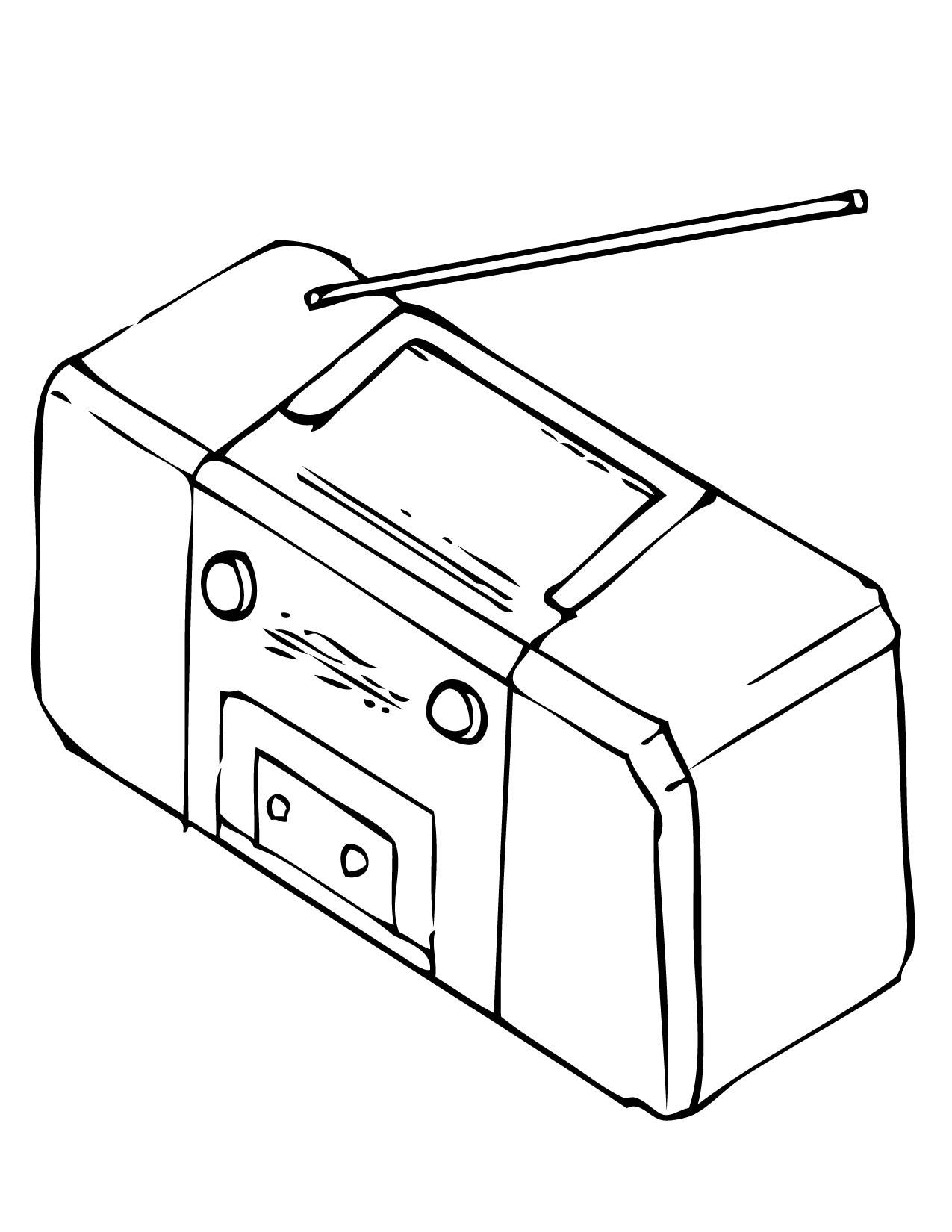1275x1650 Radio Coloring Page