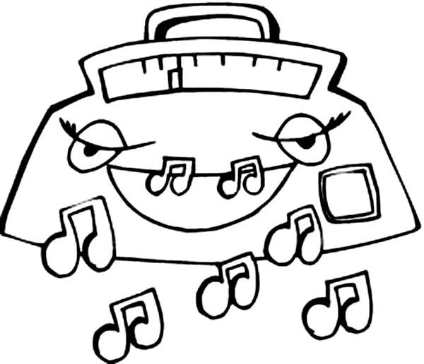 600x516 Radio Expelling Music Notes Coloring Page