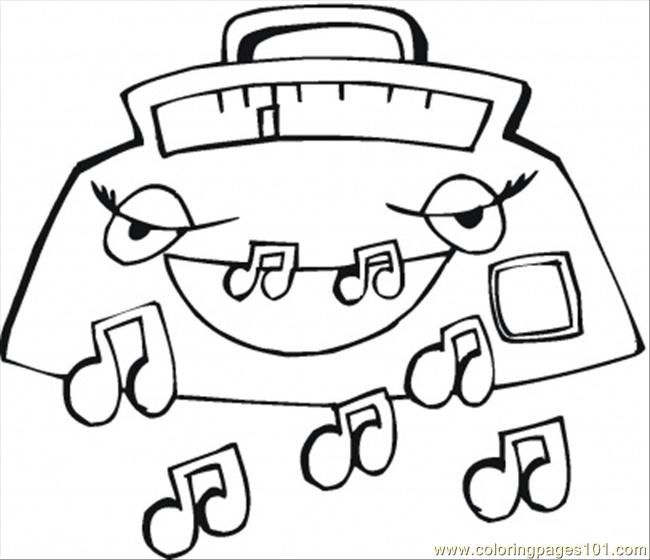 650x560 Smiling Radio Coloring Page