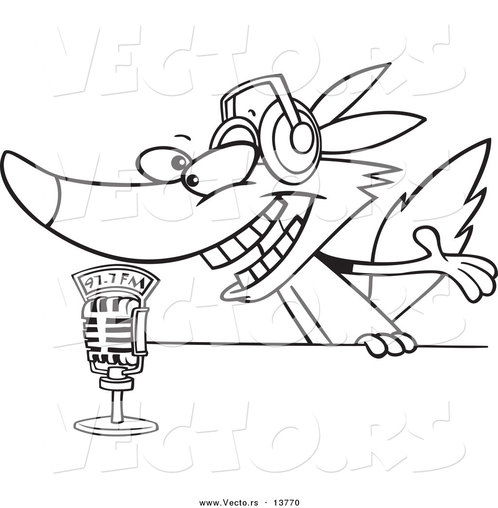 1024x1044 Vector Of A Cartoon Radio Wolf Talking Into A Microphone