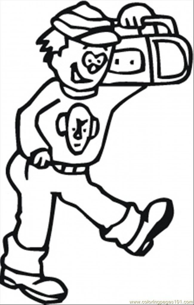 650x1020 Walking With Radio Coloring Page
