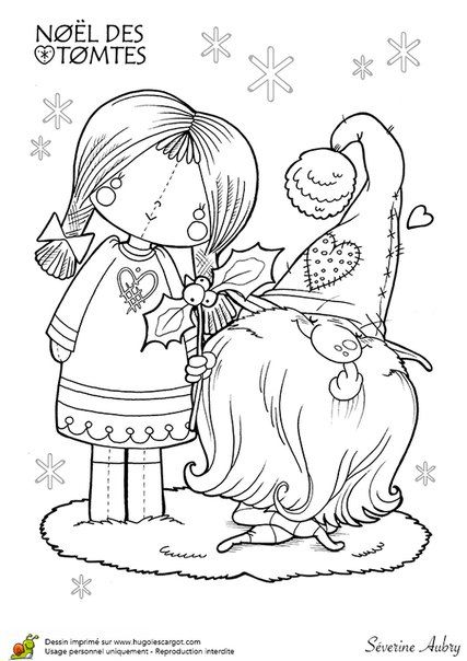427x604 Tomte, Cute Gnome With Rag Doll Coloring Page Faeries, Puppets