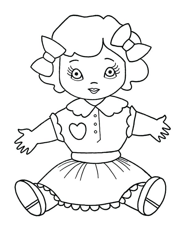 600x734 Coloring Doll Coloring Book Little Girl With A Doll Colour Hair