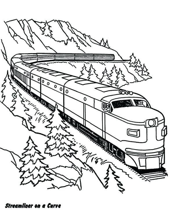 600x742 Freight Train Coloring Pages Railroad On A Curve Railroad Coloring