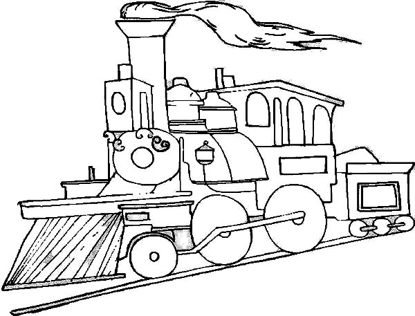 600x457 Picture Of Steam Train On Railroad Coloring Page Color Luna