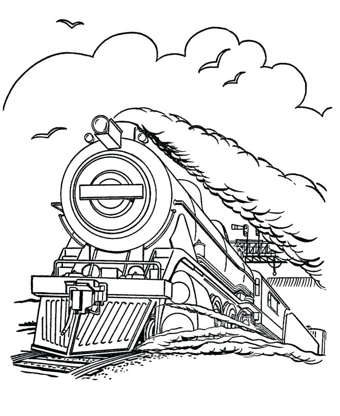 670x820 Streamlined Diesel Engine Train On Railroad Coloring Page Color