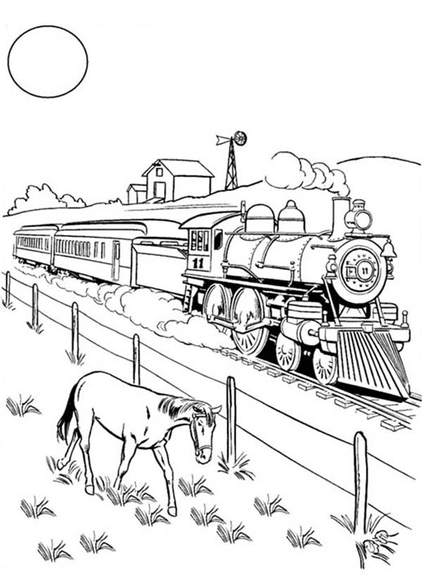 600x823 A Horse Eating Beside Railroad Coloring Page Color Luna