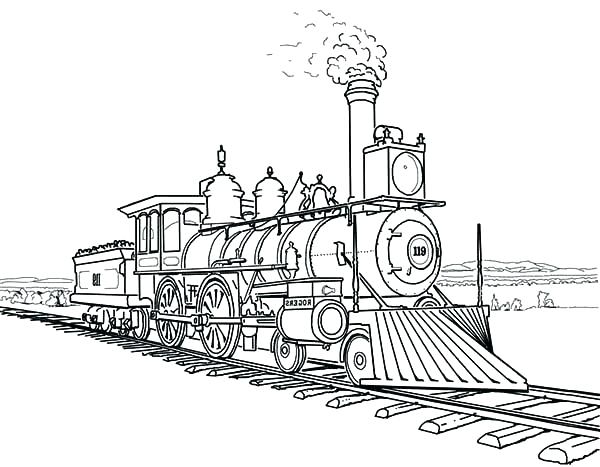 600x467 Coloring Pages Trains Amazing Steam Train On Railroad Coloring